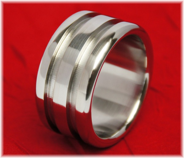 Stainless Steel Cock Ring with two wide grooves