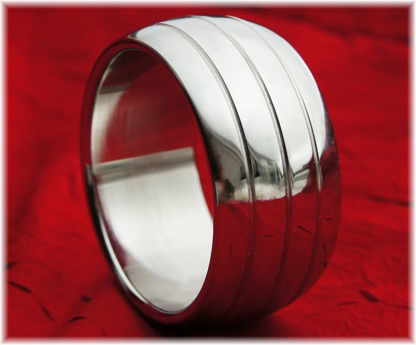Stainless Steel Oval Cock Ring with three grooves