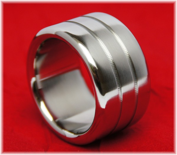 Stainless Steel Cock Ring with two grooves