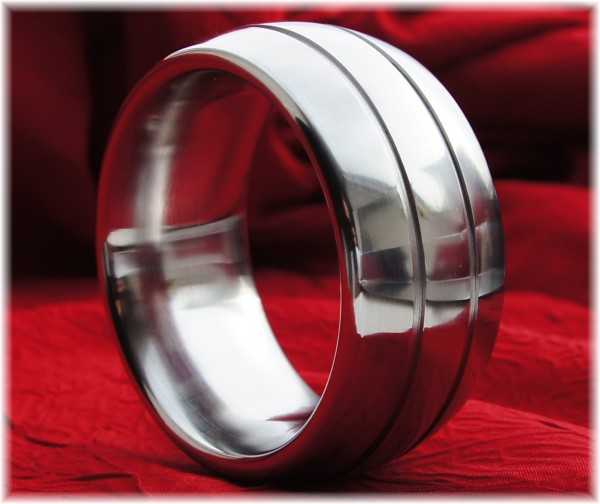 Stainless Steel Oval Cock Ring with two small grooves - Premium