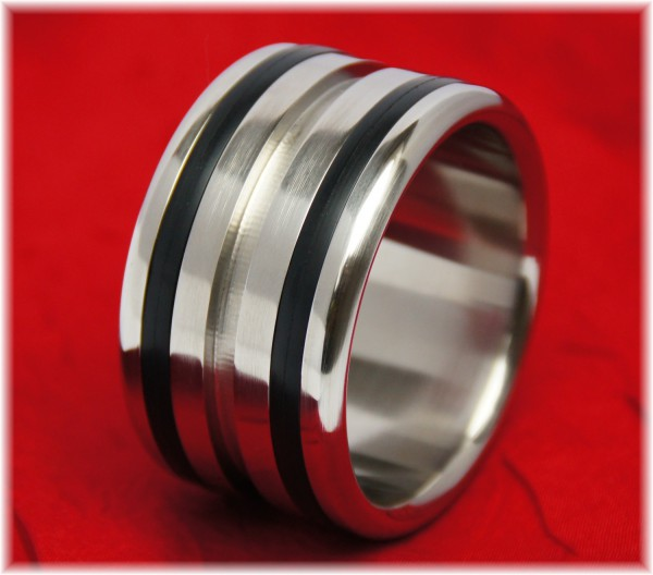 Stainless Steel Cock Ring with two Applications and Groove